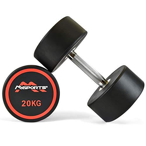 MSPORTS Rundhantel Premium 2er Set   Gummi Kurzhantel Beschichtung 2,5-50 kg   Griff verchromt und gerändelt   Verschiedene Gewichtsvarianten Hantel (2 x 20 kg)