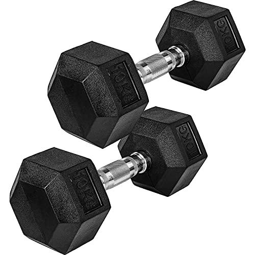 Movit® Hexagon Kurzhanteln 2er Set, Gusseisen Hanteln, 2er Set 10,0kg, insgesamt 20,0kg, Griff gerändelt, Hantel Set Kurzhantelset Gewichte